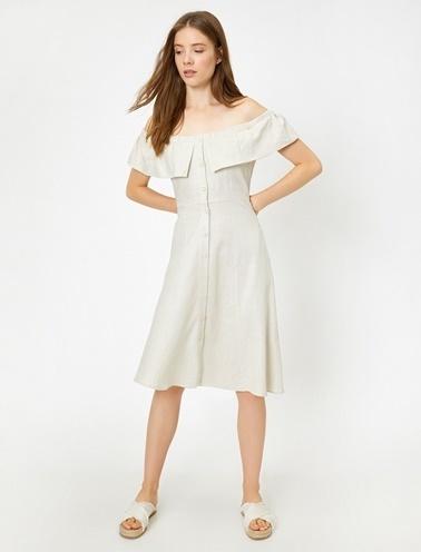Koton Düğme Detaylı Elbise Beyaz